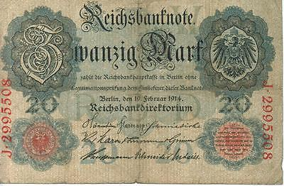 Authentic 20 Reichsmark note from Germany 1914 German Empire, 211