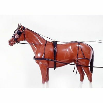 Tough 1 Leather Horse Harness W/ Bridle Single Driving For Cart Buggies