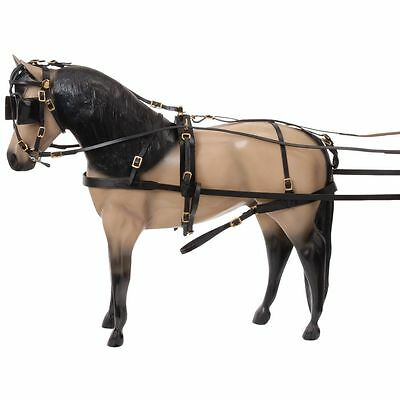 Tough 1 Miniature Leather Driving Harness Black W/ Bridle Breeching Reins