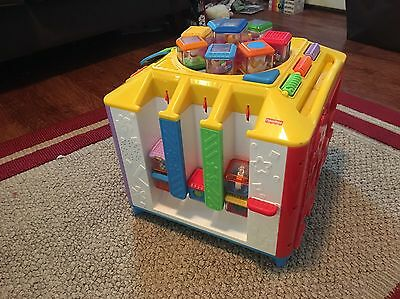 Fisher Price Incrediblock Musical Activity Cube W/ 13 Peek A Blocks Lights Sound