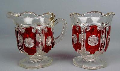 EAPG RUBY FLASHED - TARENTUM FROST CRYSTAL Spooner & Creamer ca. 1906