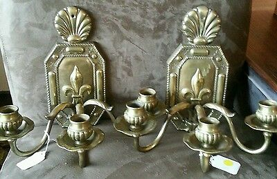 Pair Vintage Fleur De Lis French Metal Wall Sconces From France!  Heavy