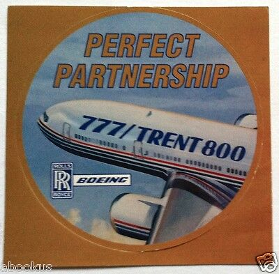"""Collectable Rolls Royce """"RR Boeing Perfect Partnership 777 Trent 800"""" Sticker"""