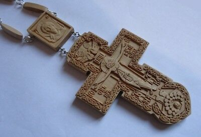 3NEW Pectoral Cross Wooden Hand Carved Crucifix + Chain #160