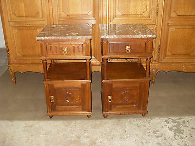 pair antique carved French country oak bedside cabinets,tables w marble tops