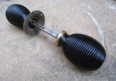 Salvaged Victorian Ebony Beehive Door Handle with Back Plate - for a rim lock