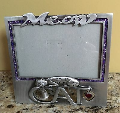 Cute Cat Pewter Picture Frame 6 X 4 Photo Meow Purple