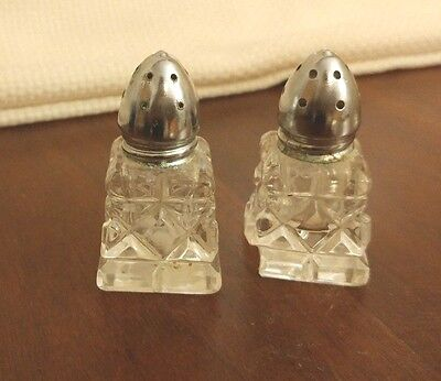 Vintage Crystal Cut Glass Salt & Pepper Shakers Made in Western Germany