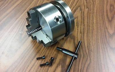 "6"" 3-JAW SELF-CENTERING LATHE CHUCK top & bottom jaws w. 2-1/4""-8 daptor plate"
