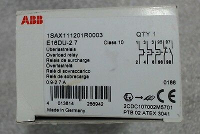 NIB ABB overload relay 1SAX111201R0003 E16DU-2.7 - 60 day warranty