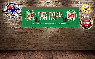 castrol mechanic on duty Banner -  Man Cave Work Shop Garage Shed Bar Whisky