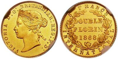 1868 Great Britain Victoria Gold Pattern Proof 2 Florins Ngc Pf 63+ Ultra Cameo