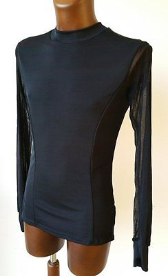 Mens Flat Front Stretch Latin Competition Shirt With Mesh Sleeves. Black