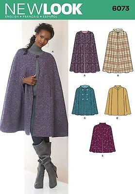 NEW LOOK Sewing Pattern Misses Ladies Womens Plus Capes~6073 Sz XS-XL