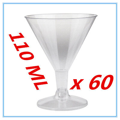 60 x DISPOSAL PLASTIC CLEAR COCKTAIL MARTINI GLASS REUSABLE WEDDING PARTY FW