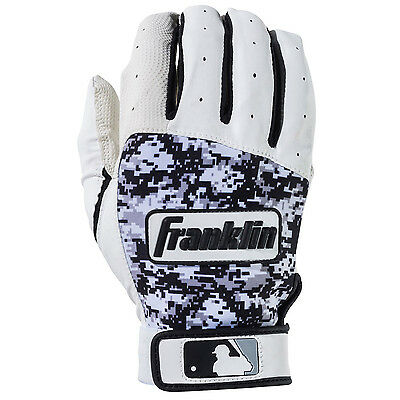 Franklin Digitek Adult Baseball/Softball Batting Gloves - White/Black - Large