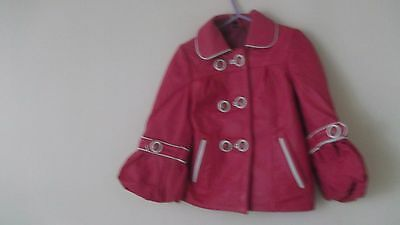 Perfect !!  - Toddler's  Pink  &  White  Soft  Leather  Coat  -  Age  2-3  Yrs