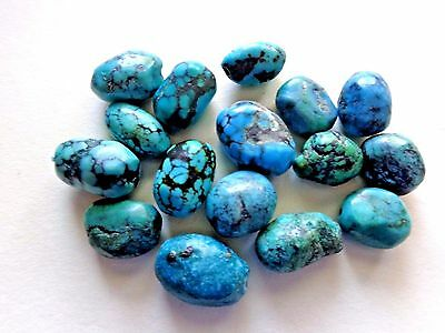 Lot of 16 Natural Blue Spiderweb Kingman Turquoise Necklace Beads 121 cts