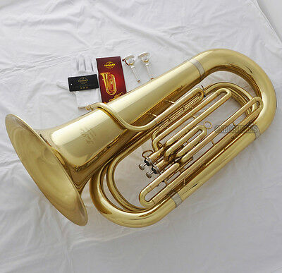 Professional NEW TaiShan Gold Bb Tuba Horn Monel Valves With Case 2 Mouthpieces