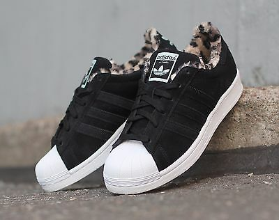 Adidas Ladies Superstar Panther Trainers Girls Sneakers Black  Various Sizes New