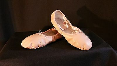 BLOCH Ballet Dance Shoes Pink Leather full sole Girls 1.5 C