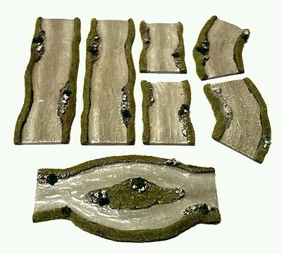 Wargames Terrain Scenery 7pc Resin Rivers Warhammer AoS Bolt Action