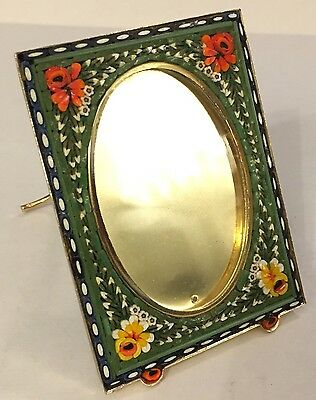 Vintage Italian Miniature Square Foral Leaf Micro Mosaic Picture Frame