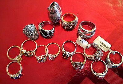 A Lot of 15 Gemstone and Crystal rings in Sterling Silver sizes 6. 7. and 8.