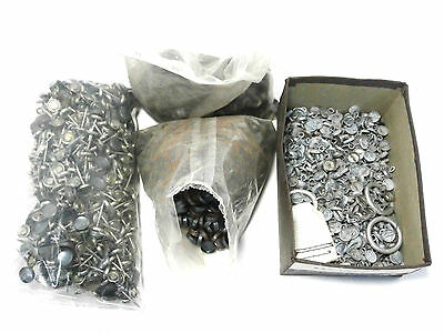 Large Lot Upholstery Button Parts Cap Fronts w/Wire Eye & Nail Backs Vintage