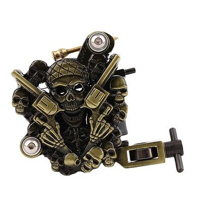 Empaistic Skull Tattoo Machine Gun for Liner & Shader Dual 10 Wrap Coils Set I5