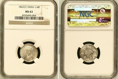 British India Queen Victoria 1862 (C) 1/4 Rupee NGC MS-63 Silver coin