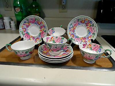 Vintage Floral Hand Painted 5 Cups & 6 Saucers - Crown Staffordshire - England