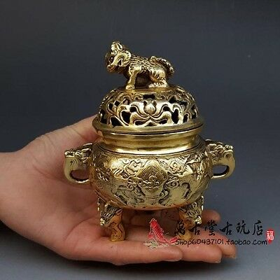 Original exquisite China brass Old Hand-Made Kylin Statues Incense Burner