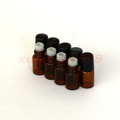 12 Pieces 2ml 16x35MM Empty Brown Glass Roll On Roller Ball Essential Oil Bottle