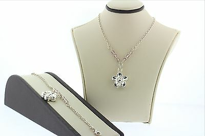 NEW Sterling Silver 925 Italy Necklace & Bracelet Set- 3D Flower with Pink Beads