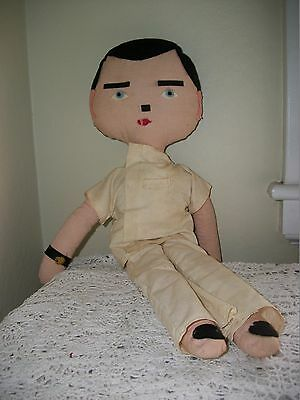 "21"" Vintage Stuffed Rag Doll Felt Features Doctor Clothing"