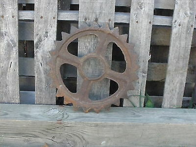 "Old Iron Rusty Industrial Gear Wheel Steampunk Garden Art Decor 14"" diameter"