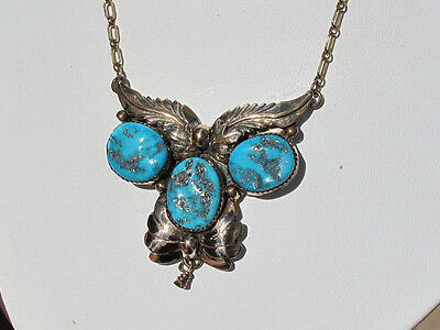 Vintage Morenci Turquoise Nugget 1970s Necklace,Sterling w/Gold,Julia Martinez