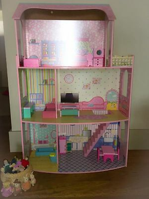 BIG three level dolls house WITH dolls and furniture