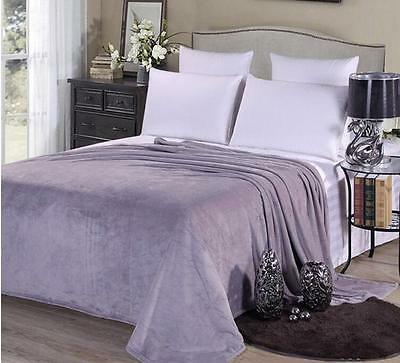 New Silver Soft Mink Flannel Throw Blankets Bed Sofa Home Double King Flann