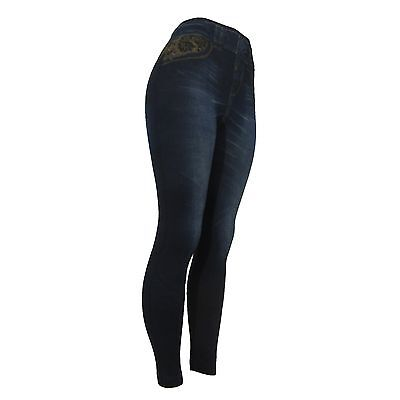 Fashion Jeggings Jeans Look Printed Leggings Womens Pants Stretchy Skinny