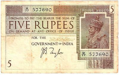 India 5 Rupees 1917 Sign Taylor Better Grade