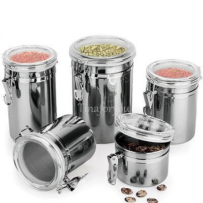 1/4pcs Stainless Steel Sealed Airtight Canister Coffee Tea Sugar Flour Container