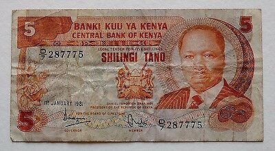 Kenya  Central Bank Of Kenya 5 Shillings 1981 287775