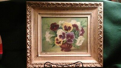 """Framed Oil on Artist Board Painting of Pansies, Signed Anita Friend 15"""" x 13"""""""