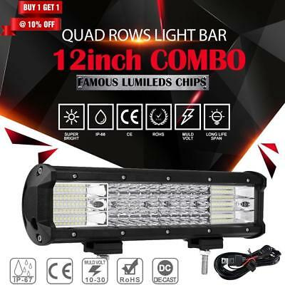 12inch 648W PHILIPS Triple Rows Spot&Flood LED Work Light Bar Offroad SUV UTE