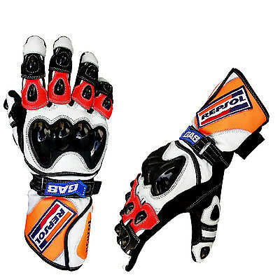 Repsol Honda Motor Bike Leather Gloves TPU Finger Protection Motor Cycle Gloves