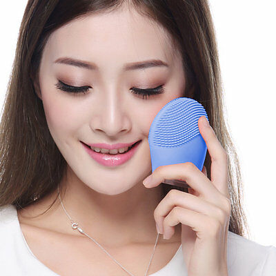 Silicone Electric Facial Cleansing Brush Face Skin Cleanser Care Massage ~A