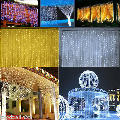3x3M 6x3M 30 LED Curtain String Fairy Lights Xmas Wedding Party Outdoor/Indoor