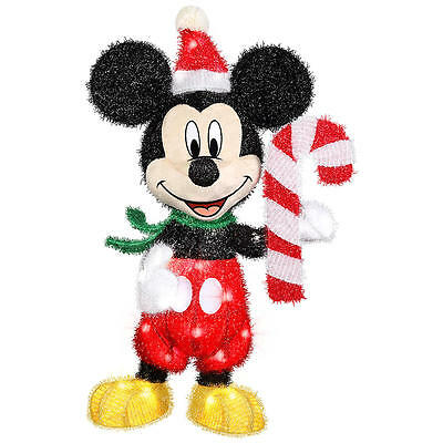 3D Outdoor Mickey w/Candy Cane Lighted Christmas Yard Holiday Tinsel Sculpture